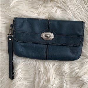 Fossil Maddox Foldover Teal Wristlet